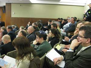 crowded room at transportation committee hearing, March 2011